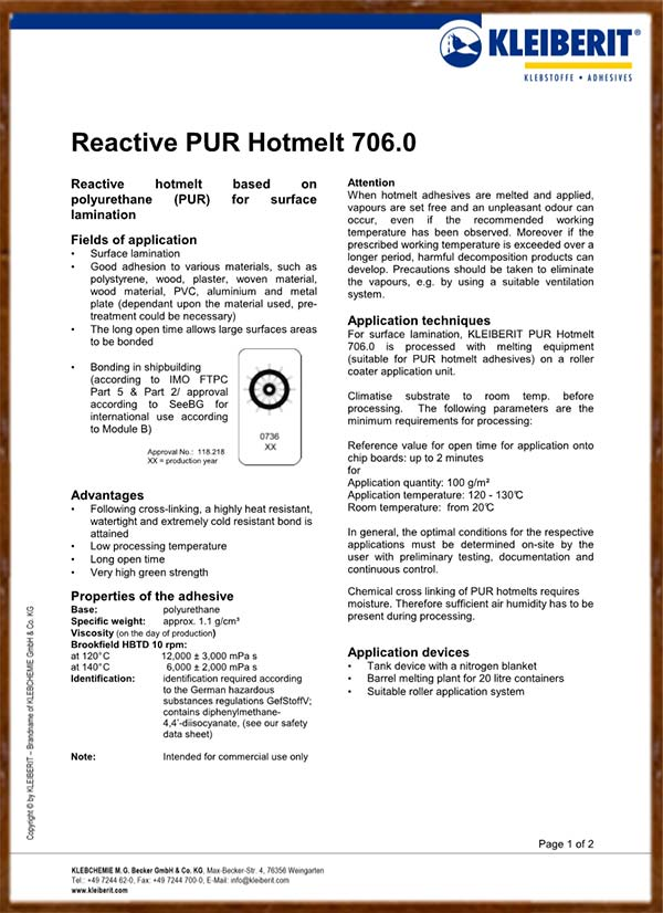 TDS Report of KLEIBERIT PUR Glue